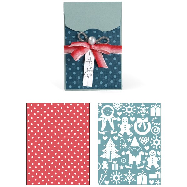 Sizzix Bigz XL/Bonus Textured Impressions By Basic Grey-Nordic Holiday Gift Card Holder, Village
