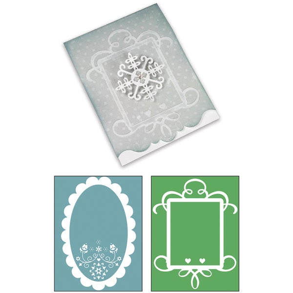 Sizzix Bigz XL/Bonus Textured Impressions By Basic Grey-Nordic Holiday Ornate Card #3, Frames 10425428