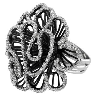 Tressa Collection Sterling Silver Cubic Zirconia Flora-inspired Ring