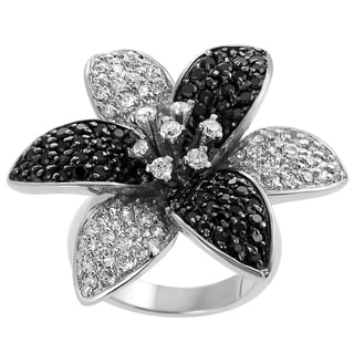 Tressa Collection Sterling Silver Black and White Cubic Zirconia Ring
