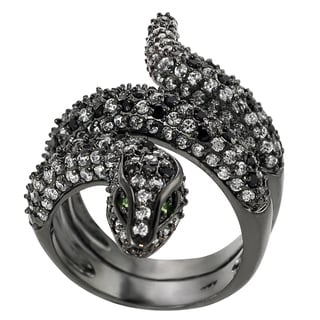 Journee Collection Sterling Silver Cubic Zirconia Snake Ring
