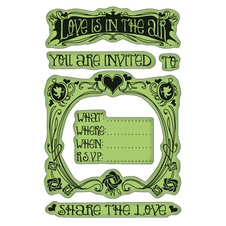 "Inkadinkado Valentine Cling Stamps 4""X6"" Sheet-Valentine Party Invite"