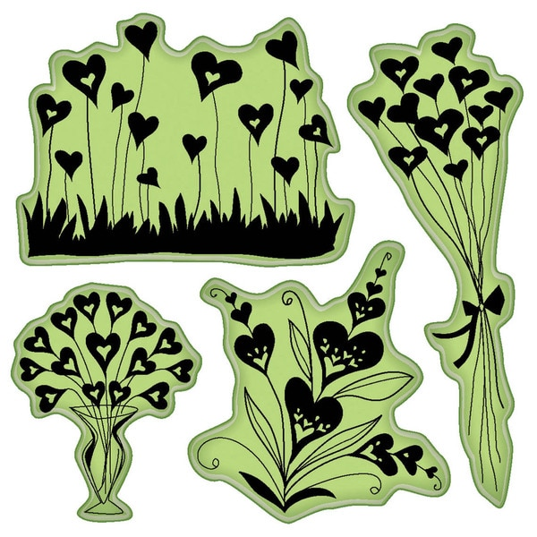 "Inkadinkado Valentine Cling Stamps 4""X4"" Sheet-Hearts Shapes Flowers"