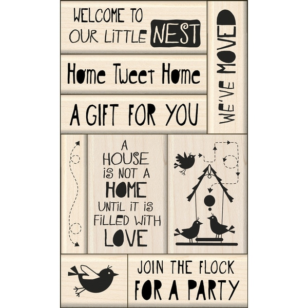 Inkadinkado Card Making Mounted Stamp Set 9/Pkg-New Home