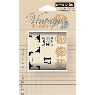 Vintage Finds Washi Decorative Tape 3 Rolls/Pkg-