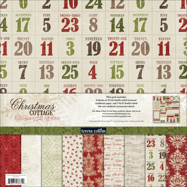"Christmas Cottage Collection Pack 12""X12""-"