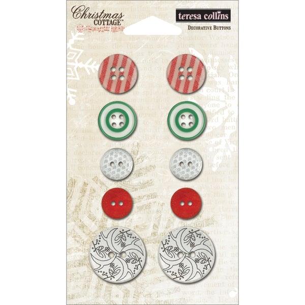 Christmas Cottage Decorative Buttons 10/Pkg-
