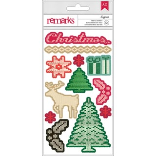 "Kringle & Co. Remarks Fabric Stickers 3.75""X6.5""-Ivyfrost"