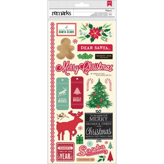 "Kringle & Co. Remarks Cardstock Stickers 5.5""X12""-Hollymint Border/Accent/Phrase 2 Sheets"