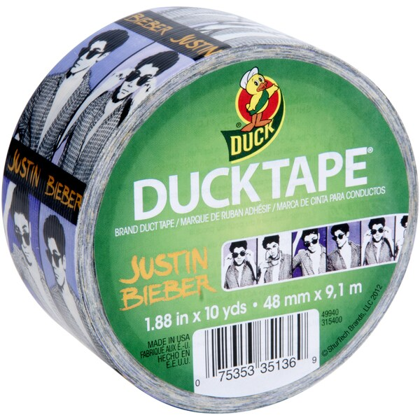 Licensed Duck Tape 1.88 Inch Wide 10 Yard Roll - Justin Bieber