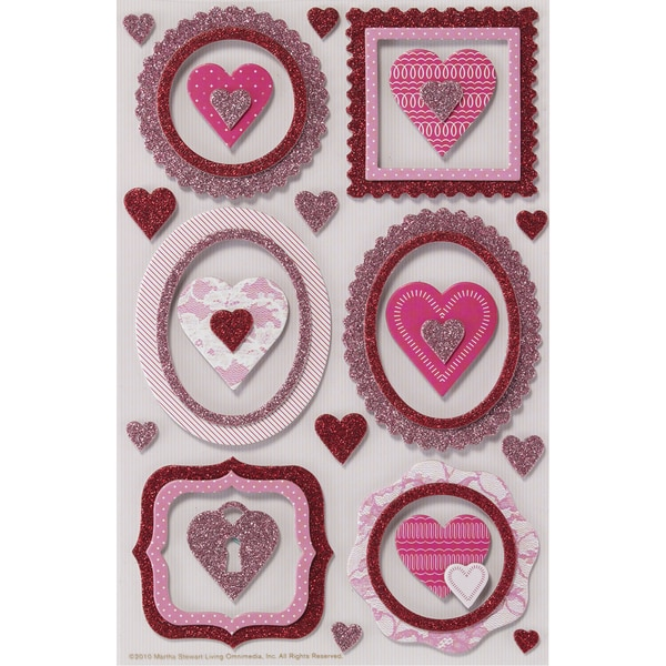 Martha Stewart Valentine Stickers-Frame and Heart