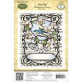"JustRite Stampers Cling Background Stamp 4-1/2""X5-3/4""-Song Bird"