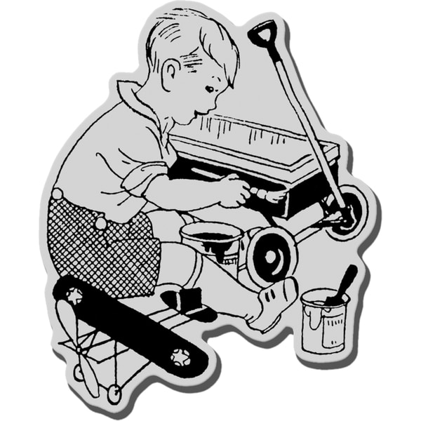 Stampendous Cling Rubber Stamp-Lil Mr. Fix It