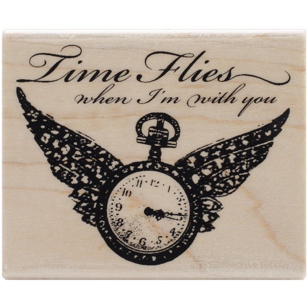"""Stampendous Mounted Rubber Stamp 1-3/4""""X4-3/4""""-Winged Timepiece"""