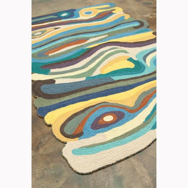 Flat Weave Zoey Sand/ Blue Wool Rug (5'0 x 7'6)