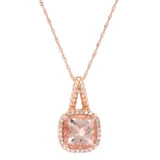 14k Rose Gold Morganite and White Diamonds Pendant Necklace