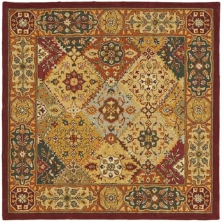 Handmade Diamond Bakhtiari Multi/ Red Wool Rug (10' Square)