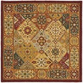 Handmade Diamond Bakhtiari Multi/ Red Wool Rug (4' Square)