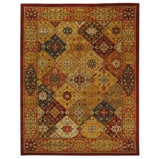 Handmade Diamond Bakhtiari Multi/ Red Wool Rug (5' x 12')