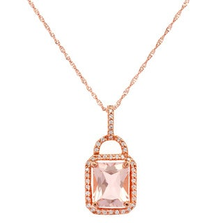 14k Rose Gold Pink Morganite 1/5ct TDW White Diamond Rope Pendant Necklace (G-H, SI-1)