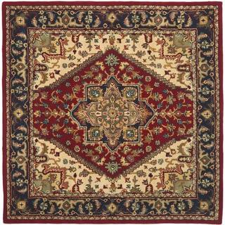 Safavieh Handmade Heritage Heriz Red/ Navy Wool Rug (6' Square)