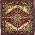 Handmade Heritage Heriz Red/ Navy Wool Rug (6' Square)
