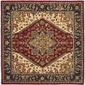 Safavieh Handmade Heritage Heriz Red/ Navy Wool Rug (8' Square)