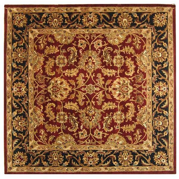 Safavieh Handmade Heritage Kashan Burgundy/ Black Wool Rug (10' Square)