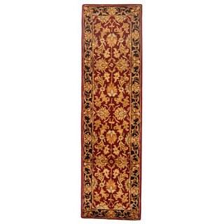 Safavieh Handmade Heritage Kashan Burgundy/ Black Wool Rug (2'3 x 6')