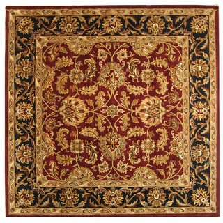 Safavieh Handmade Heritage Kashan Burgundy/ Black Wool Rug (4' Square)