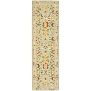 Handmade Treasures Light Blue/ Ivory Wool Rug (2'3 x 16')