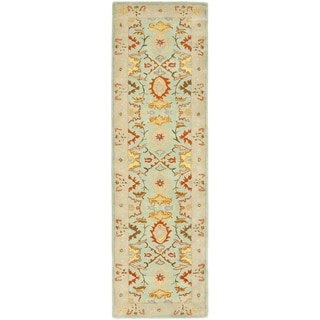 Handmade Treasures Light Blue/ Ivory Wool Rug (2'3 x 22')