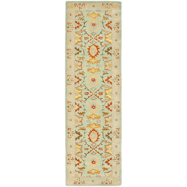 Safavieh Handmade Treasures Light Blue/ Ivory Wool Rug (2'3 x 22')