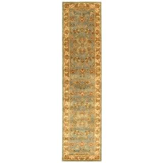 Safavieh Handmade Heritage Kermansha Blue/ Beige Wool Rug (2'3 x 6')