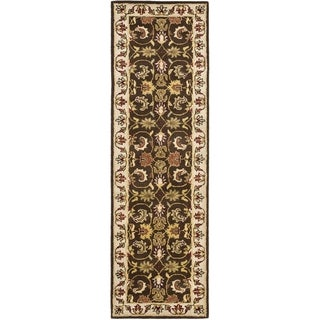 Handmade Heritage Exquisite Brown/ Ivory Wool Rug (2'3 x 14')