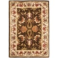Handmade Heritage Exquisite Brown/ Ivory Wool Rug (2&#39;3 x 4&#39;)