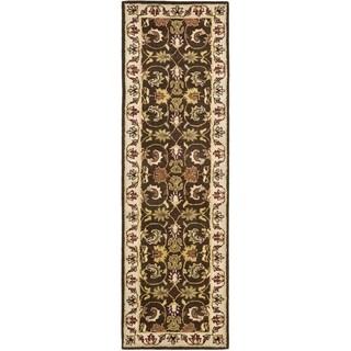 Safavieh Handmade Heritage Exquisite Brown/ Ivory Wool Rug (2'3 x 6')