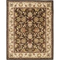 Handmade Heritage Exquisite Brown/ Ivory Wool Rug (9' x 12')