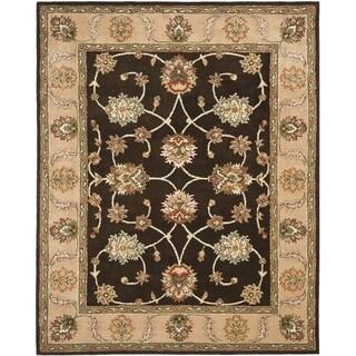 Safavieh Handmade Heritage Black/ Beige Wool Rug (7'6 x 9'6)