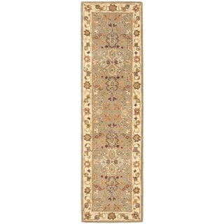 Handmade Heritage Oushak Light Green/ Beige Wool Rug (2'3 x 22')