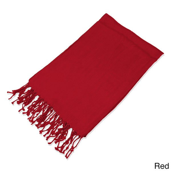 Leisureland Viscose Solid Fringe Scarf