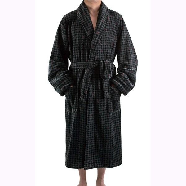 Leisureland Men's Charcoal Houndstooth Plush Fleece Robe (One size)
