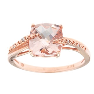 14k Rose Gold Morganite and White Diamond Accent Ring