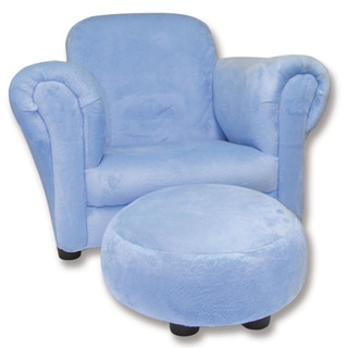 Trend Lab Blue Velour Children's Club Chair and Ottoman Set