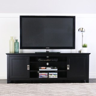 Tribolo 70-inch Black TV Stand Console with Sliding Doors