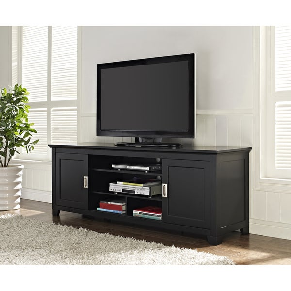 black 70 inch wood tv stand with sliding doors 15010805 overstock shopping great deals on. Black Bedroom Furniture Sets. Home Design Ideas
