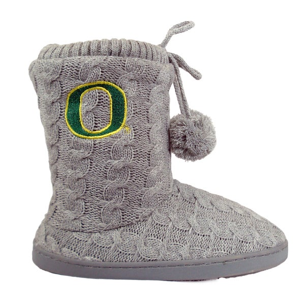 Women's University of Oregon Cable Knit Slipper Booties