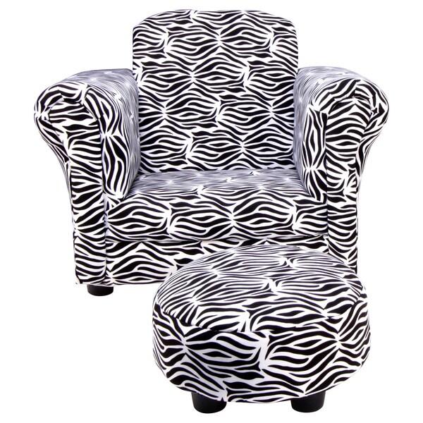 Trend Lab Black/ White Zebra Club Chair and Ottoman Set