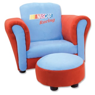 Trend Lab Nascar Red/ Blue Ultrasuede Club Chair and Ottoman Set