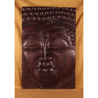 Hand-Carved Eyes Open Buddha Panel (India)
